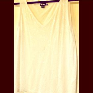 DKNY. Soft v neck sequin tee   New.  XL